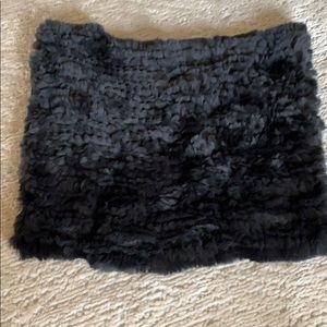 NWT Qi Cashmere real rabbit fur neck scarf